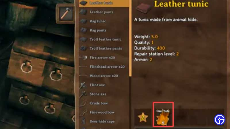 how to craft leather armor valheim