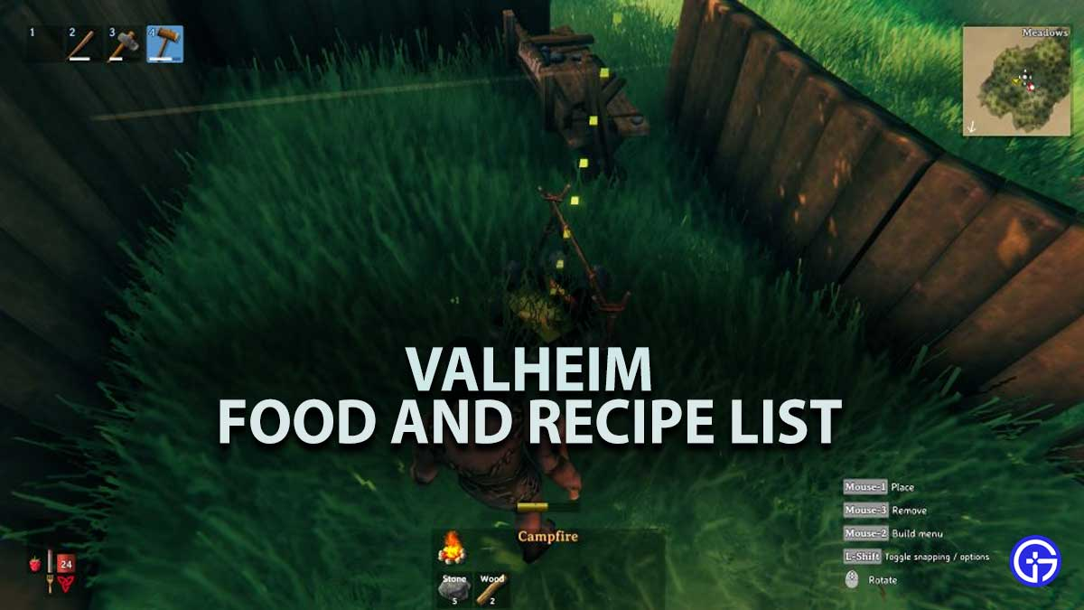 Valheim Food Recipe List