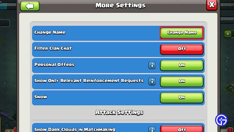 clash of clans change name