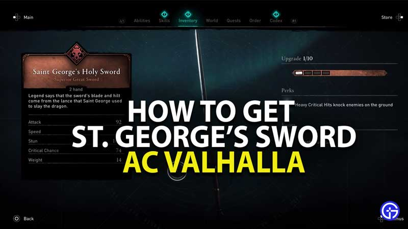 how to get saint george sword in assassins creed valhalla