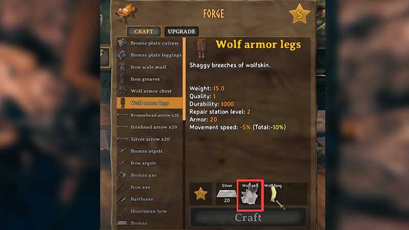 how to get wolf pelt valheim and how to use
