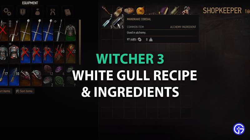 witcher 3 white gull recipe ingredients