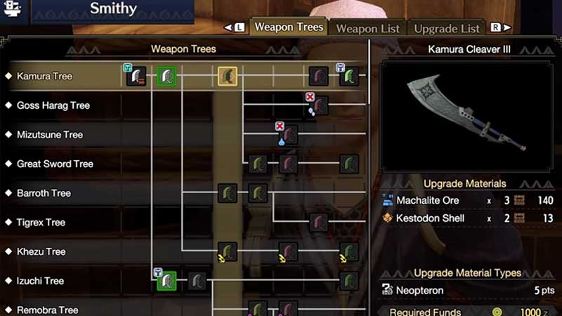 How to Unlock Weapon Tree in Monster Hunter Rise (MHR)