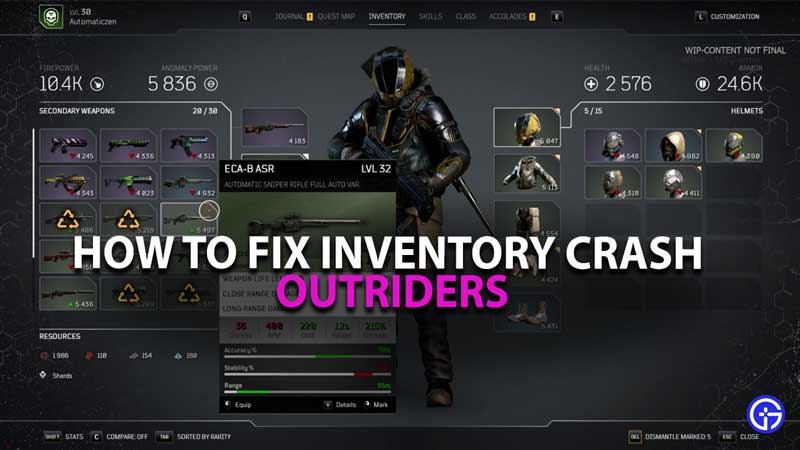 Outriders Inventory Crash Guide