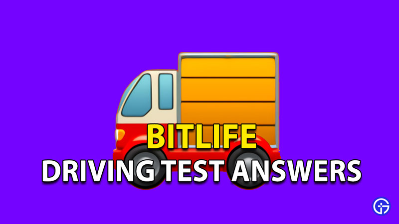 Driving test answers for Bitlife