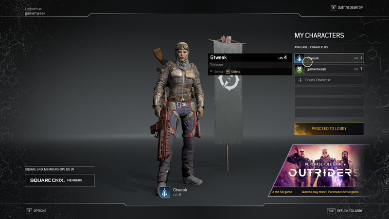 Learn how to delete a character in Outriders