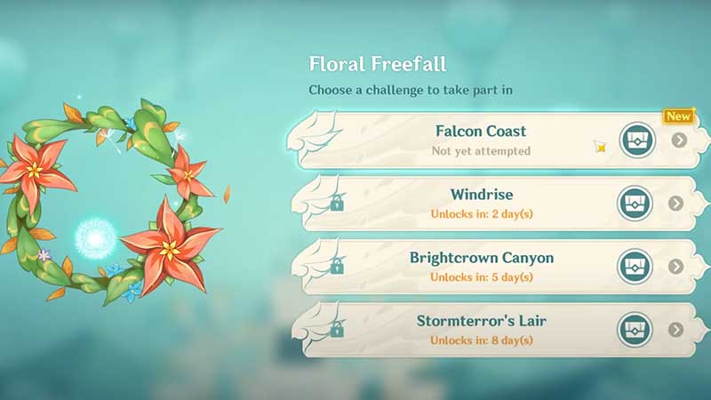 floral freefall challenges