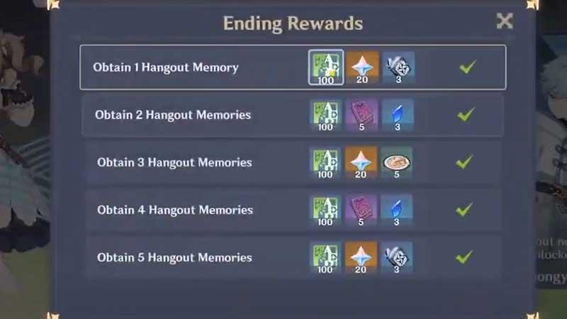 genshin impact hangout event rewards