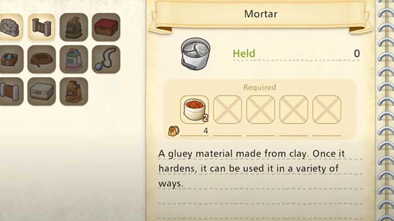 how to get mortar story of seasons pioneers of olive town