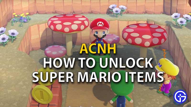 how to unlock mario items acnh