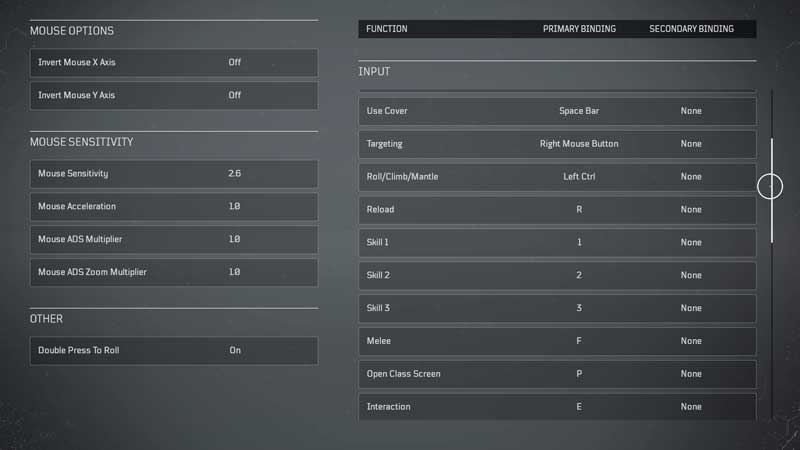 Outriders PC Controls Option