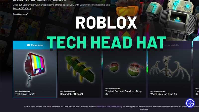 Roblox Prime Gaming Reward Tech Head Hat