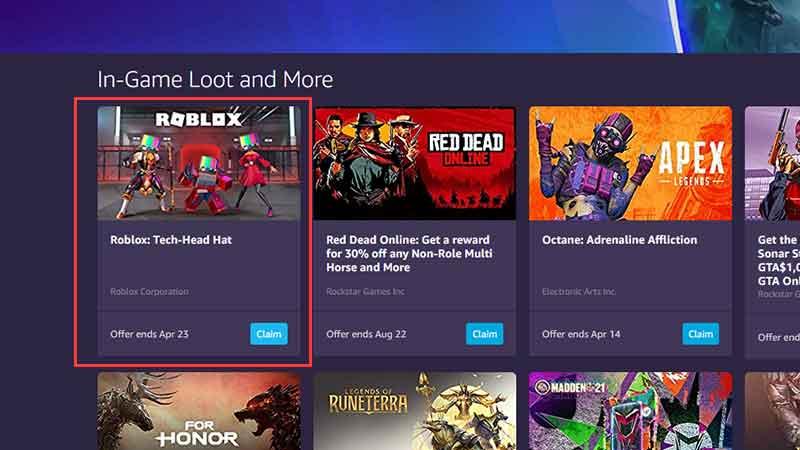 Roblox prime gaming rewards free