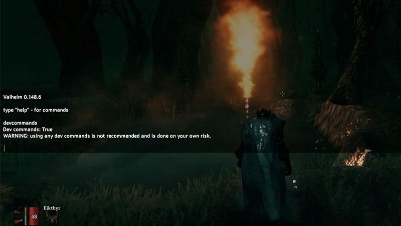 valheim dev commands warning message