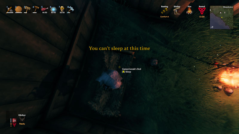 You cant sleep at this time in Valheim
