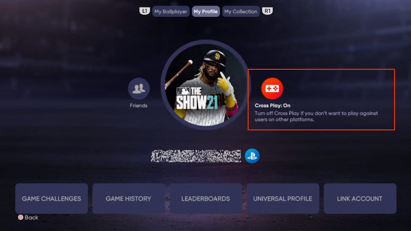 MLB The Show 21 support crossplay with friends