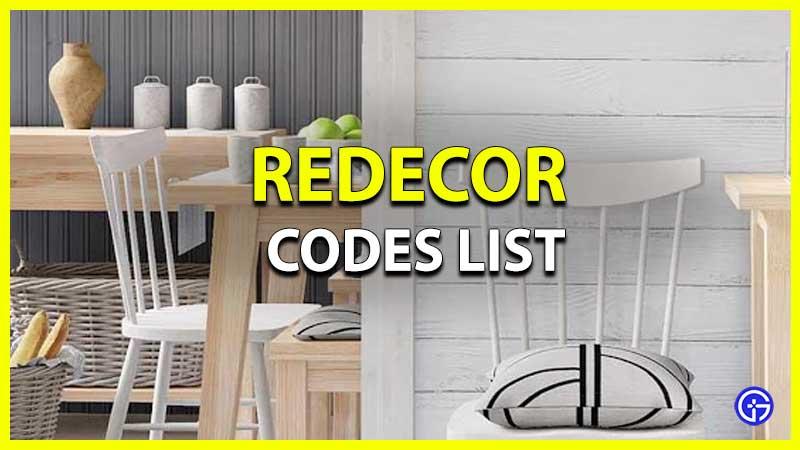 Redecor Codes List