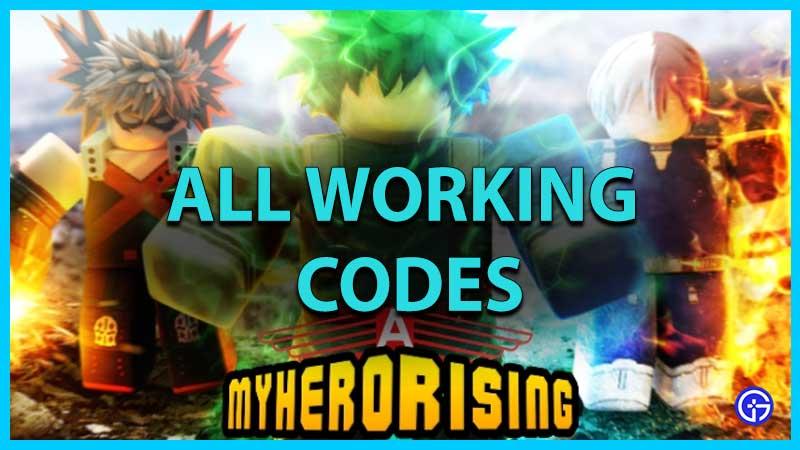 Roblox My Hero Rising Codes