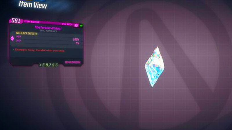 Unique Mysterious Amulet Artifact in Borderlands 3