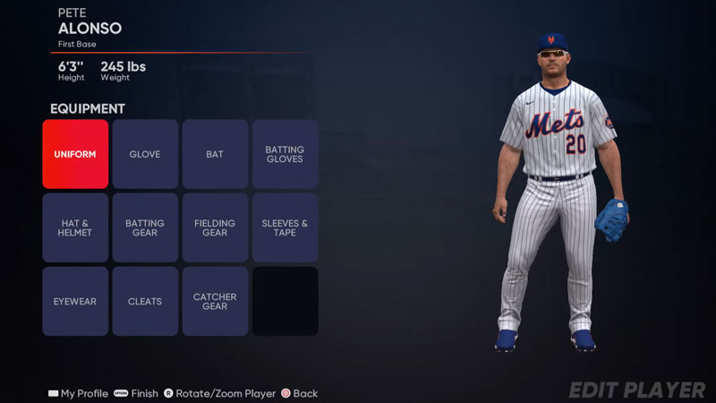 MLB The Show 21 Equip Equipment