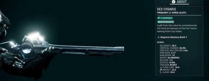 Unlock Dex Sybaris in Warframe.