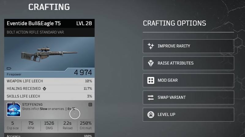 Outriders Level up Weapons
