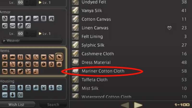 Final Fantasy XIV Mariner Cotton Cloth