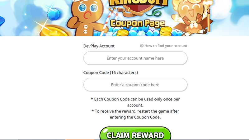 Cookie Run Kingdom coupon code page