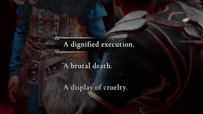 AC valhalla Execute, Brutal Death Or Cruelty Choice
