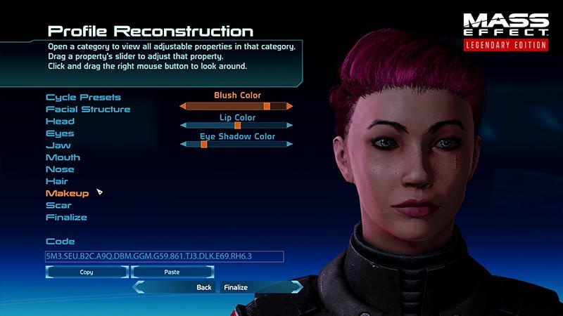 Mass Effect Legendary Edition Redeem Face Codes