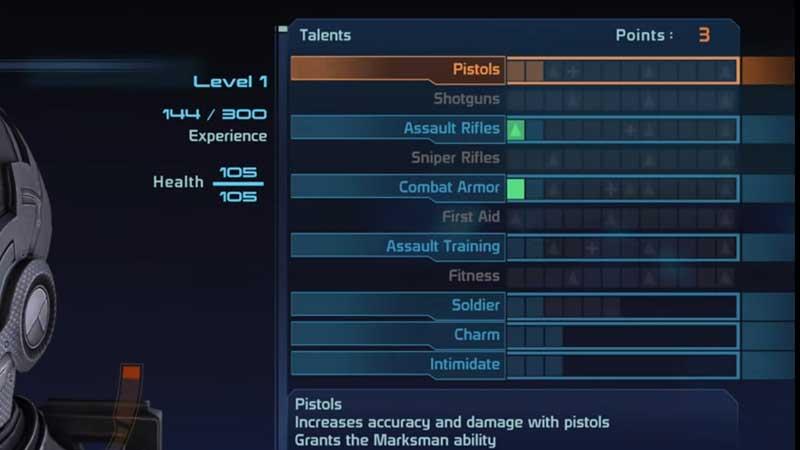 Mass Effect Talent Points
