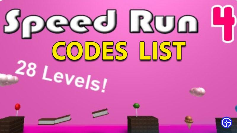 Roblox Speed Run 4 Codes