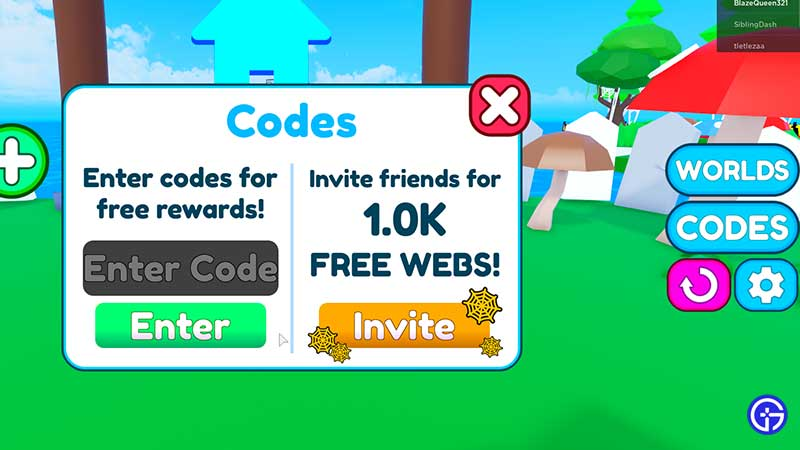 How to Redeem Codes in Roblox Be A Spider Tycoon