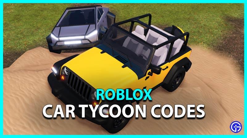 Roblox Car Tycoon Codes