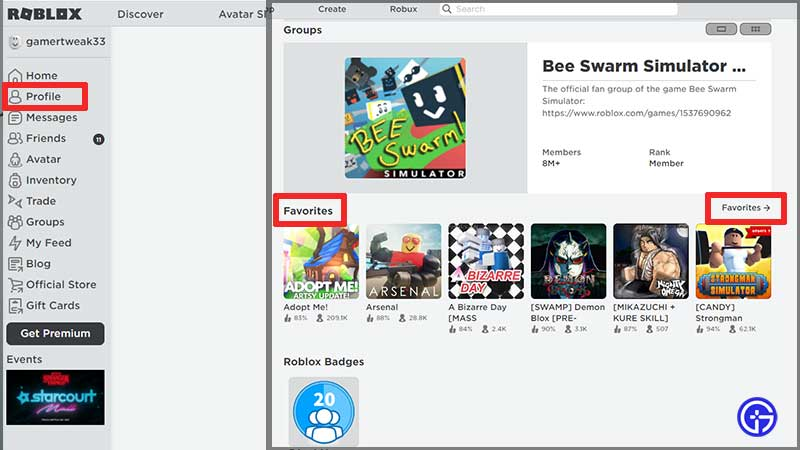 how to see your favorites on roblox