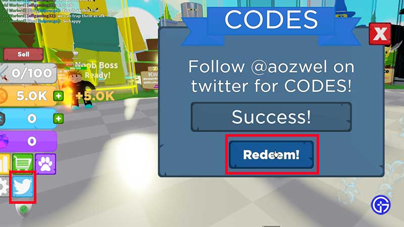 How to Redeem Codes in Roblox Boss Fighting Simulator