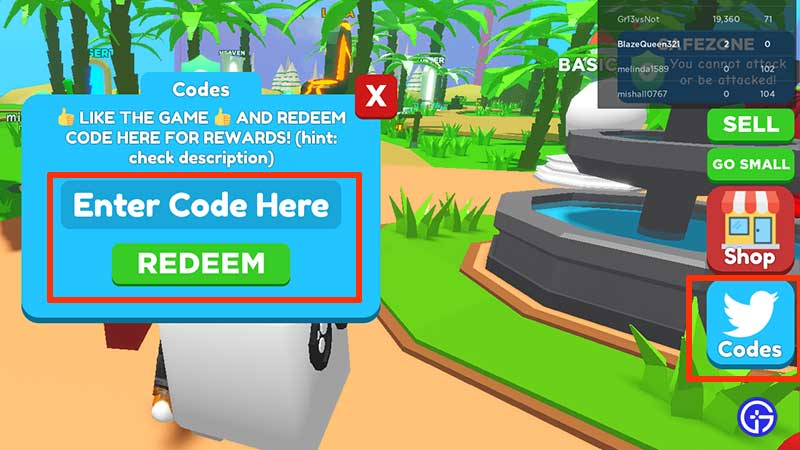 How to Redeem Codes in Roblox Eating Simulator
