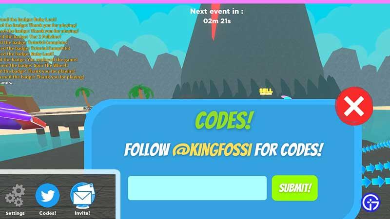 How to Redeem Codes in Roblox Treasure Lake Simulator