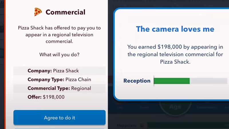 do commercials to make money bitlife
