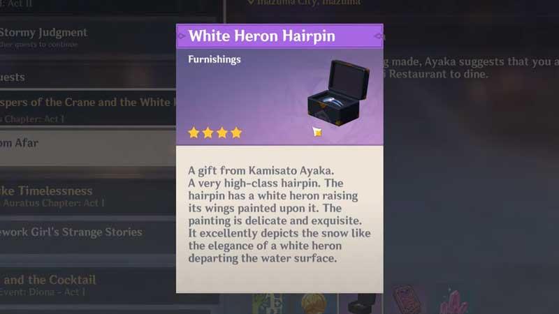 white heron hairpin genshin impact