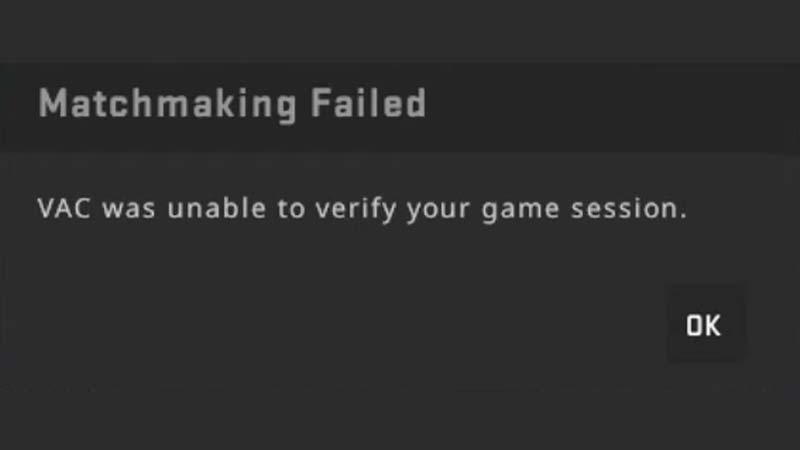 CSGO Vac Was Unable To Verify Game