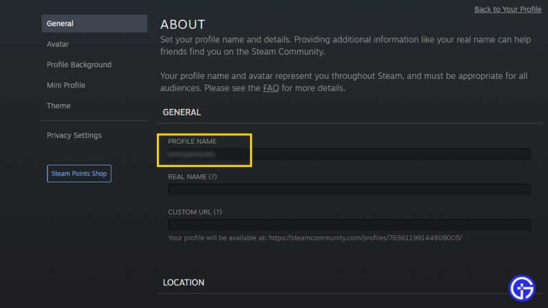 how to change steam profile name