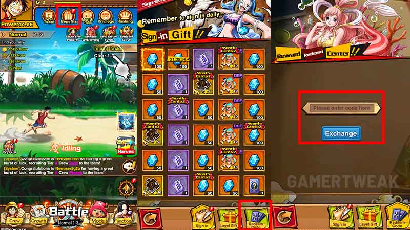 how to redeem pirate war battle for treasure gift code