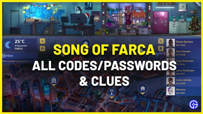 Song Of Farca Passwords List