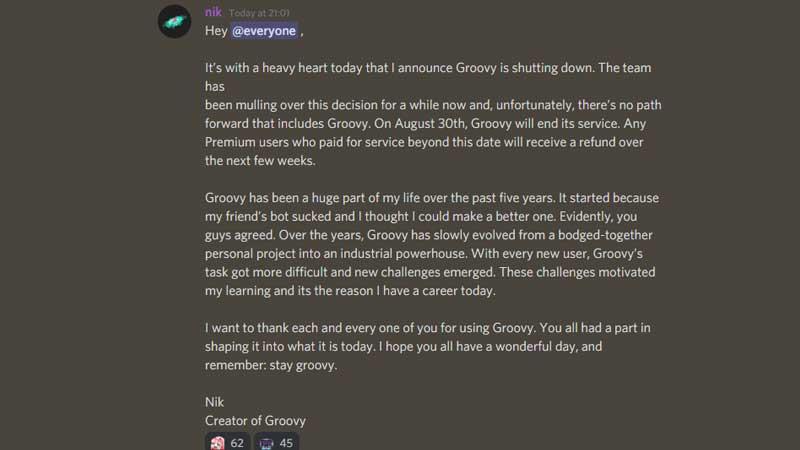 groovy bot shutting down