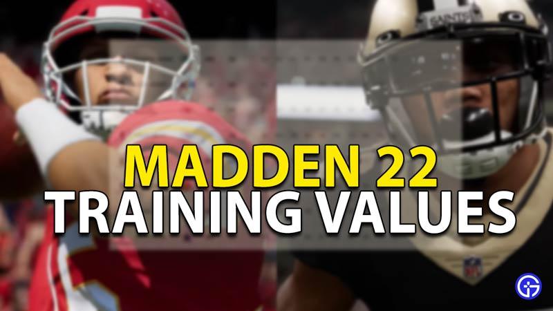 madden 22 training values