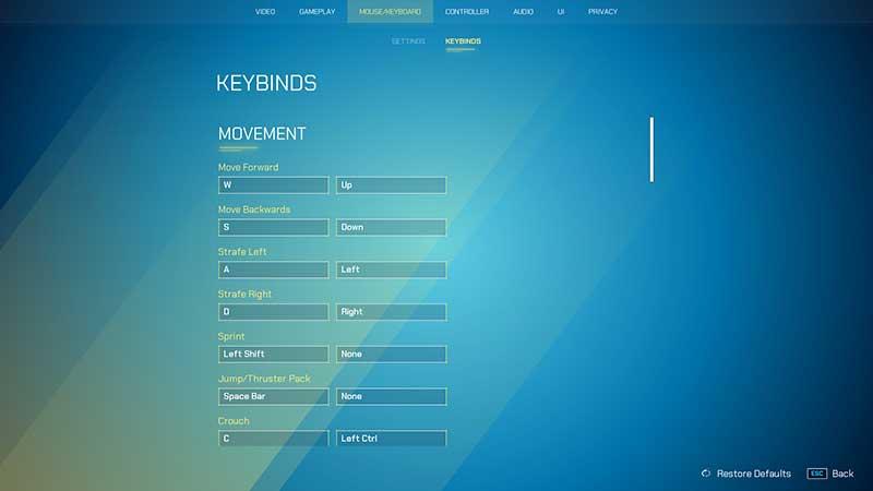 pc keybinds splitgate