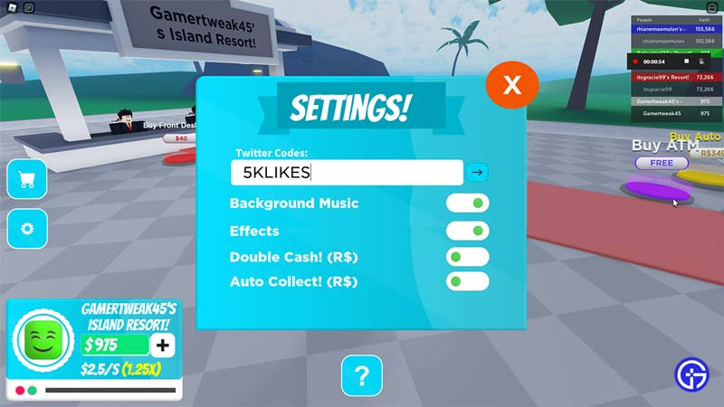 roblox my island resort codes