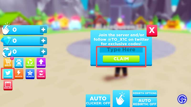 how to redeem codes in Roblox Clicking Havoc
