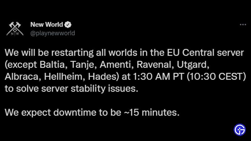New World Server Status Time